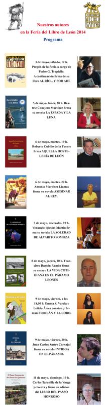 Nuestros autores en la Feria del Libro de León 2014. Programa.